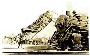 "Frank D. Conard,  ""The Train Hold-Up"".  Silver print postcard circa 1935"